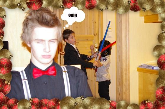 Christmas 2012+Norwegian Christmas+Norway+Christmas eve+ juleaften+juletre +partyhats - Star wars - children