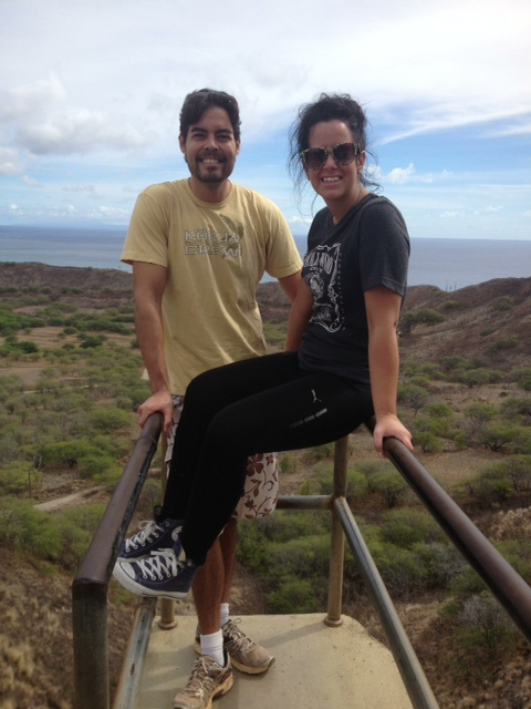 Dez and I hiking Diamond Head Oahu