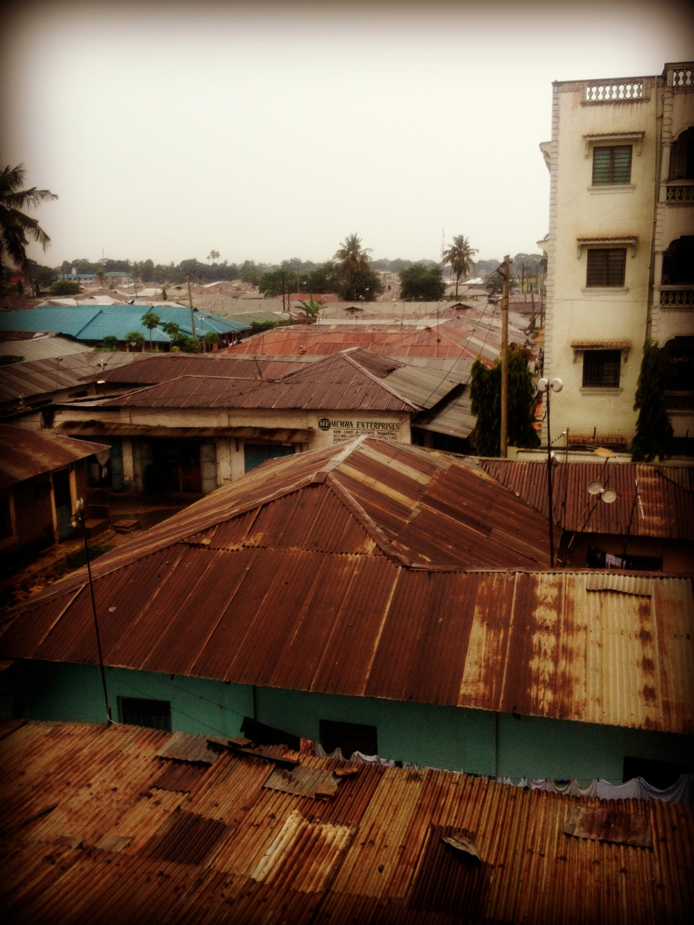Rooftops, hospital, rain, Africa, Mombasa, Kenya, Bomu Hospital