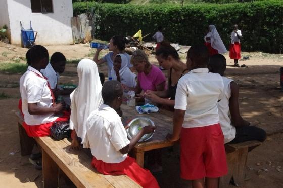 New Hope academy Mshmoroni sorting beans i-to-i Mombasa