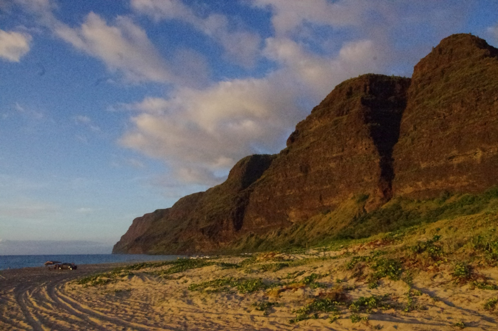 Palihale beach - Sunset - Kauai  - Mountain