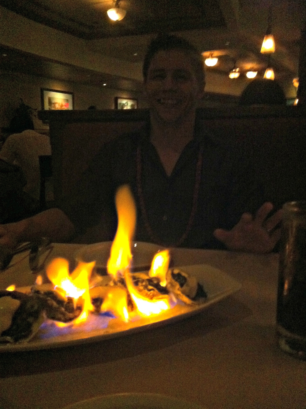 Ruth's Chris Steakhouse Honolulu Waikiki flames food restaurant romantic