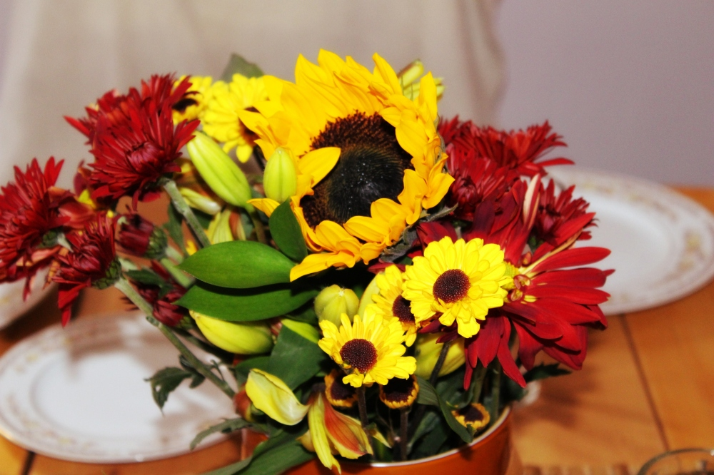 Thanksgiving - flowers - centerpiece - sunflower - fall colors