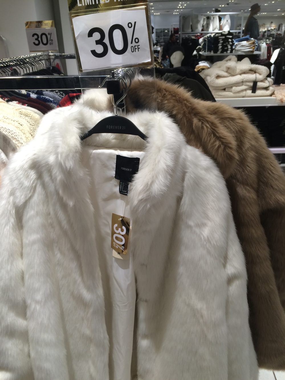 Forever 21 white fur coat 2015 winter sale black friday