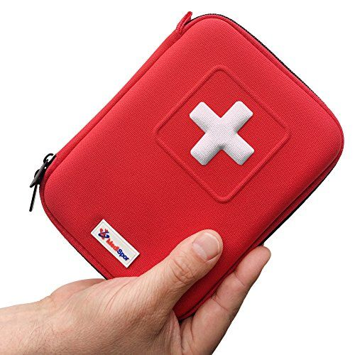 Background must haves Central Casting Complete-Mini-First-Aid-Kit-35-Unique-Items-100-Pieces-Best-Content-in-Hard-Case-Perfect-for-Car-Outdoor-Scouting-Travel-Medical-Use-GREAT-GIFT-Idea