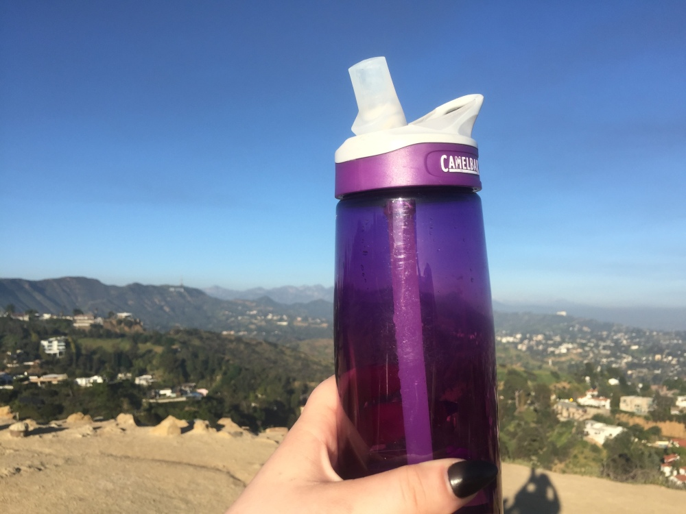 Purple Camelbak Water bottle Los Angeles Runyon Canyon Background Must haves Extras Central Casting
