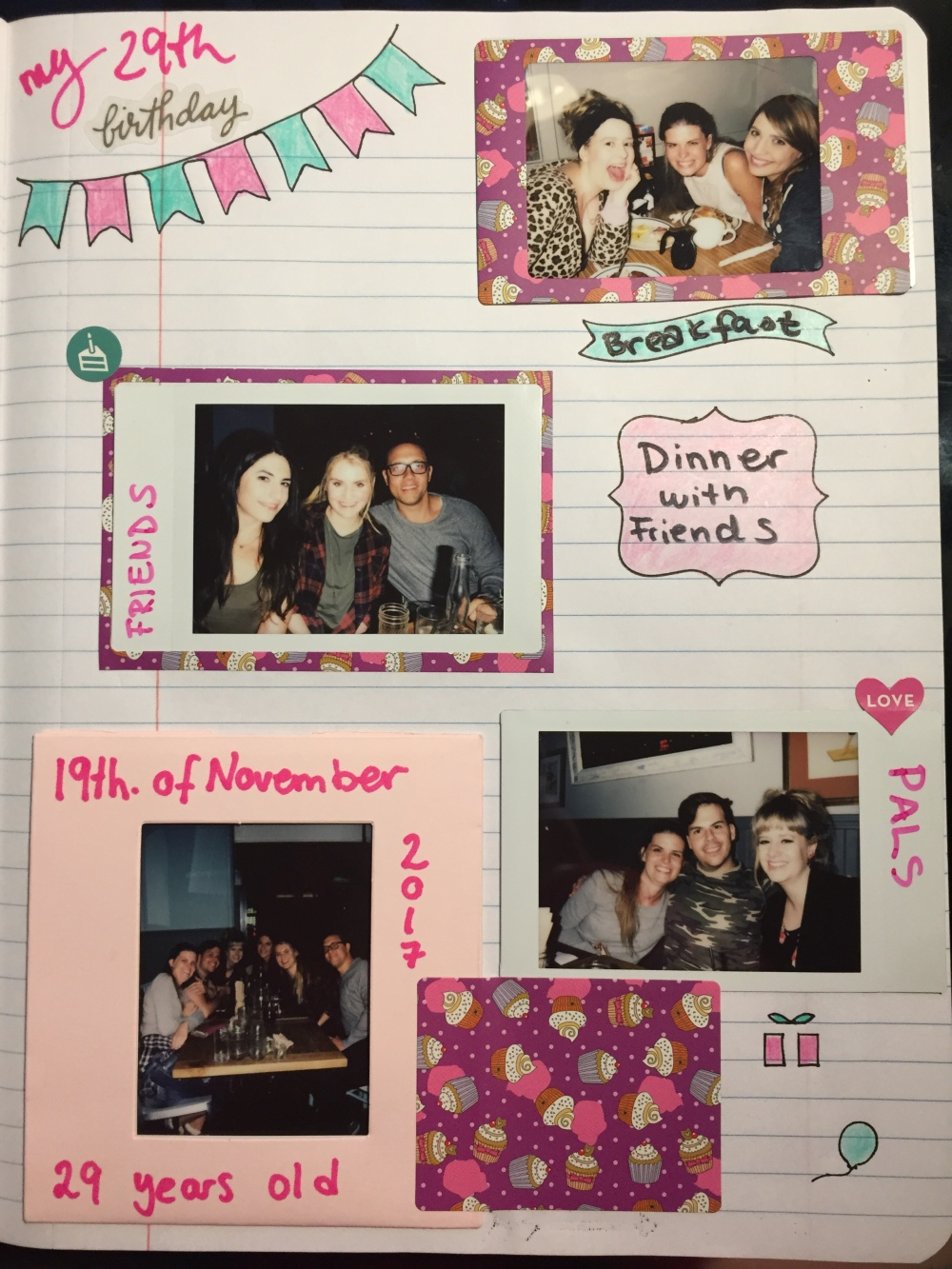 Bullet Journal Birthday Page - Birthday Polaroid Celebration